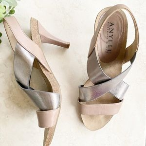Anyi lu pewter mauve strappy open toe heels